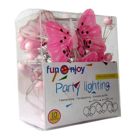 LED  String Chain Fairy Lights  Pink Butterfly- 10 Lights